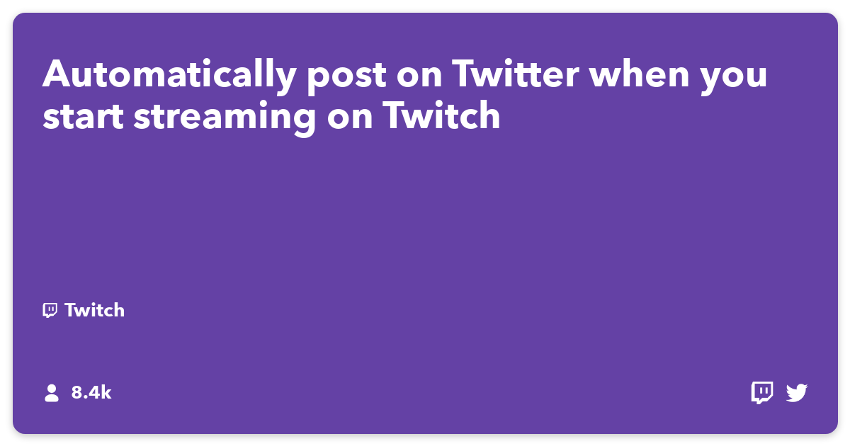 Automatically post on Twitter when you start streaming on